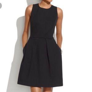 Madewell Box Pleat Black Scuba Dress Size 2